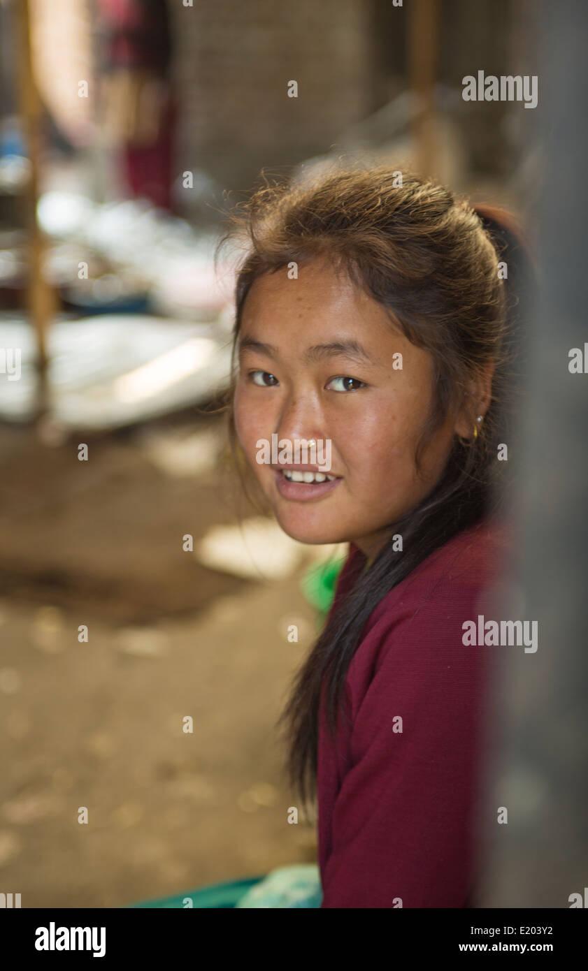 Kathmandu Nepal Nepali girl poses in Print Making shop Nayapati Eastern Kathmandu 32 - Stock Image
