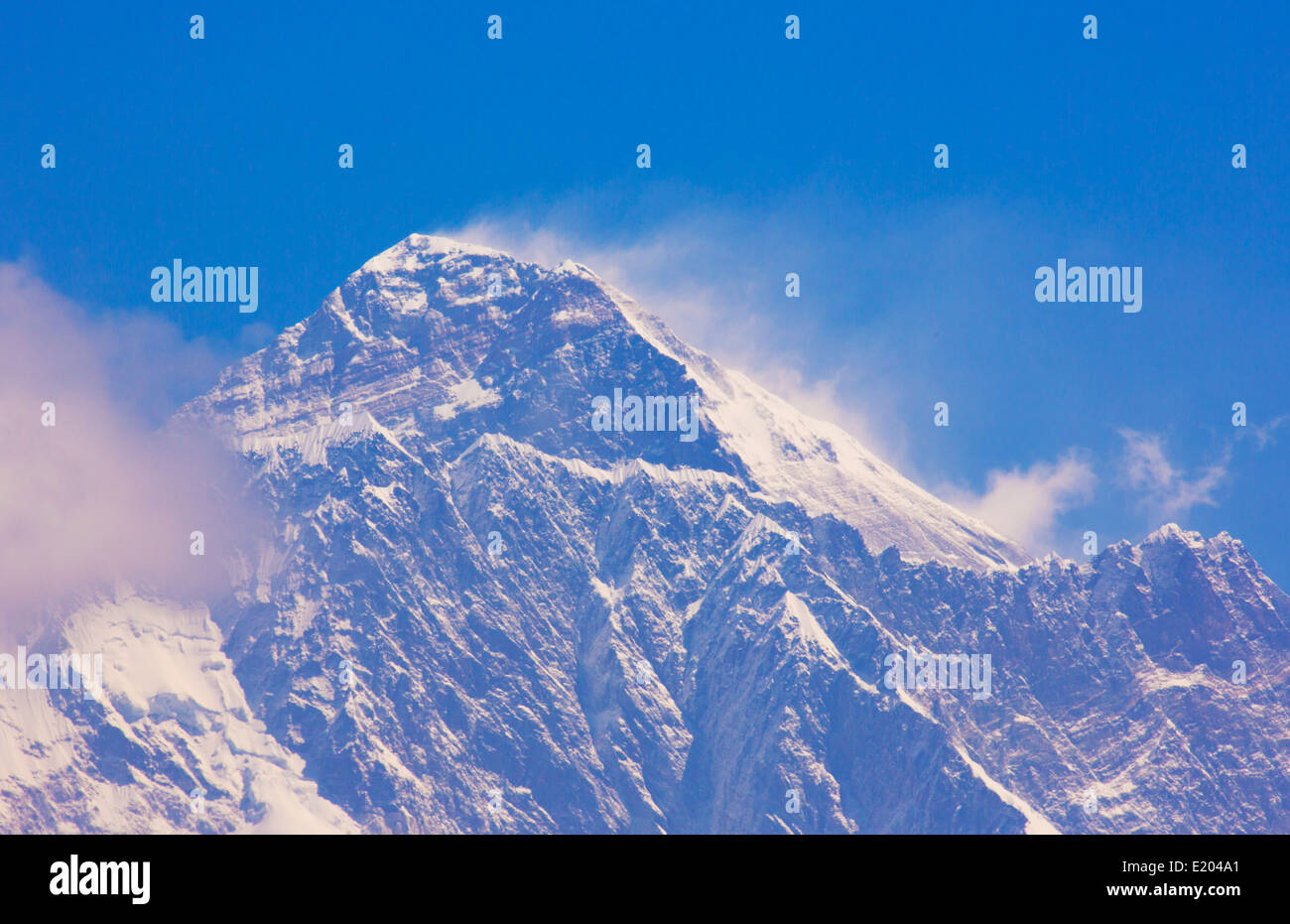 Nepal Himalayas Mountains Mount Everest in the late morning, shot from the look-out point above Namche Bazarre remote - Stock Image
