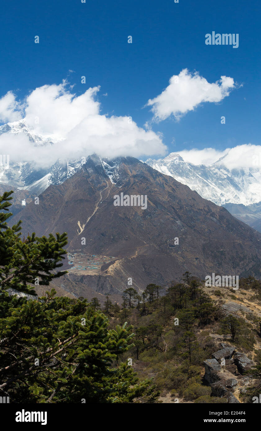 Nepal The Himalayas with Mount Everest in the background, to the right slightly off-center, shot from the look-out - Stock Image