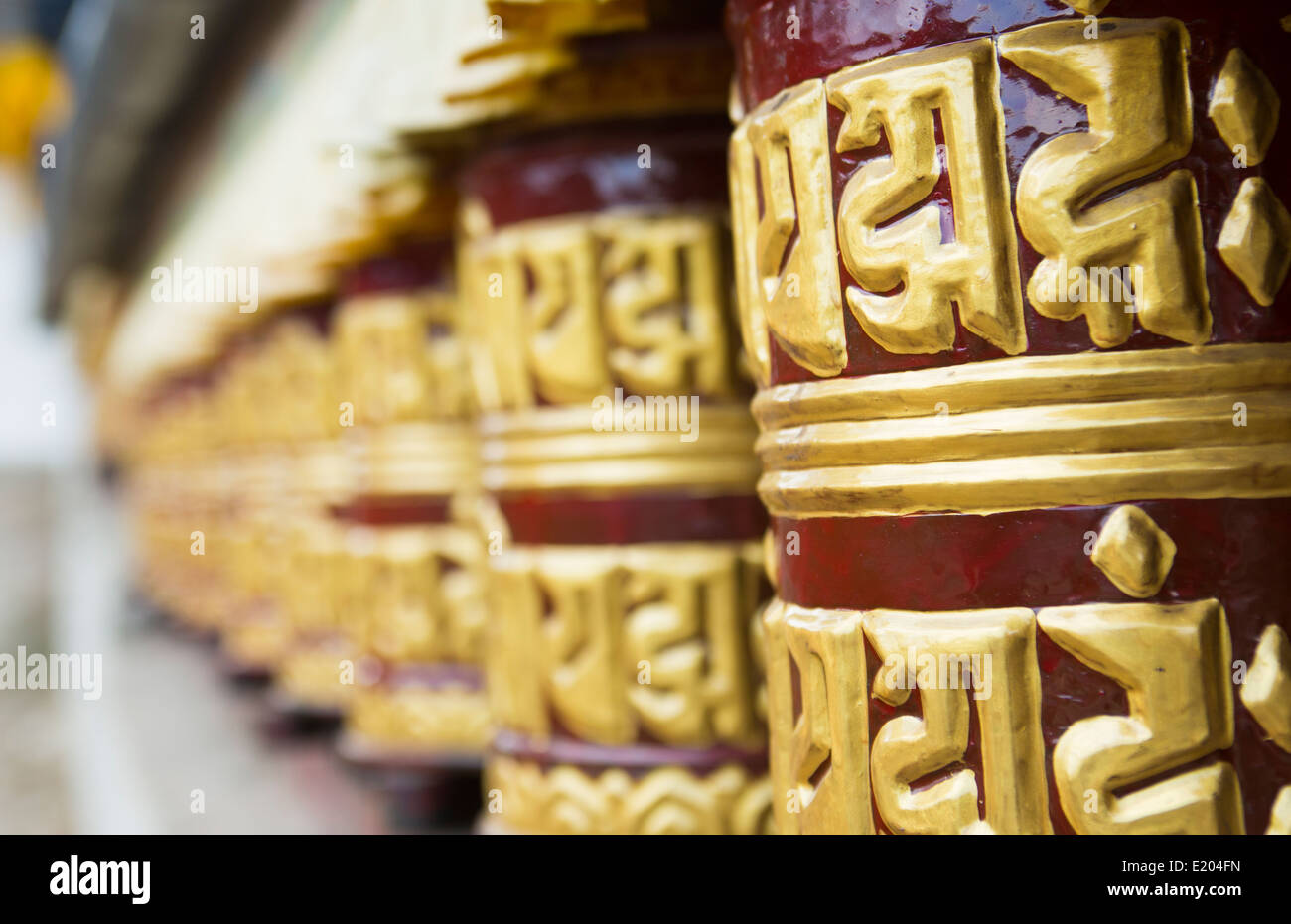 Nepal Prayer wheels in the village of Khumjung Solukhumbu, remote, Mt Everest, Himalayas - Stock Image