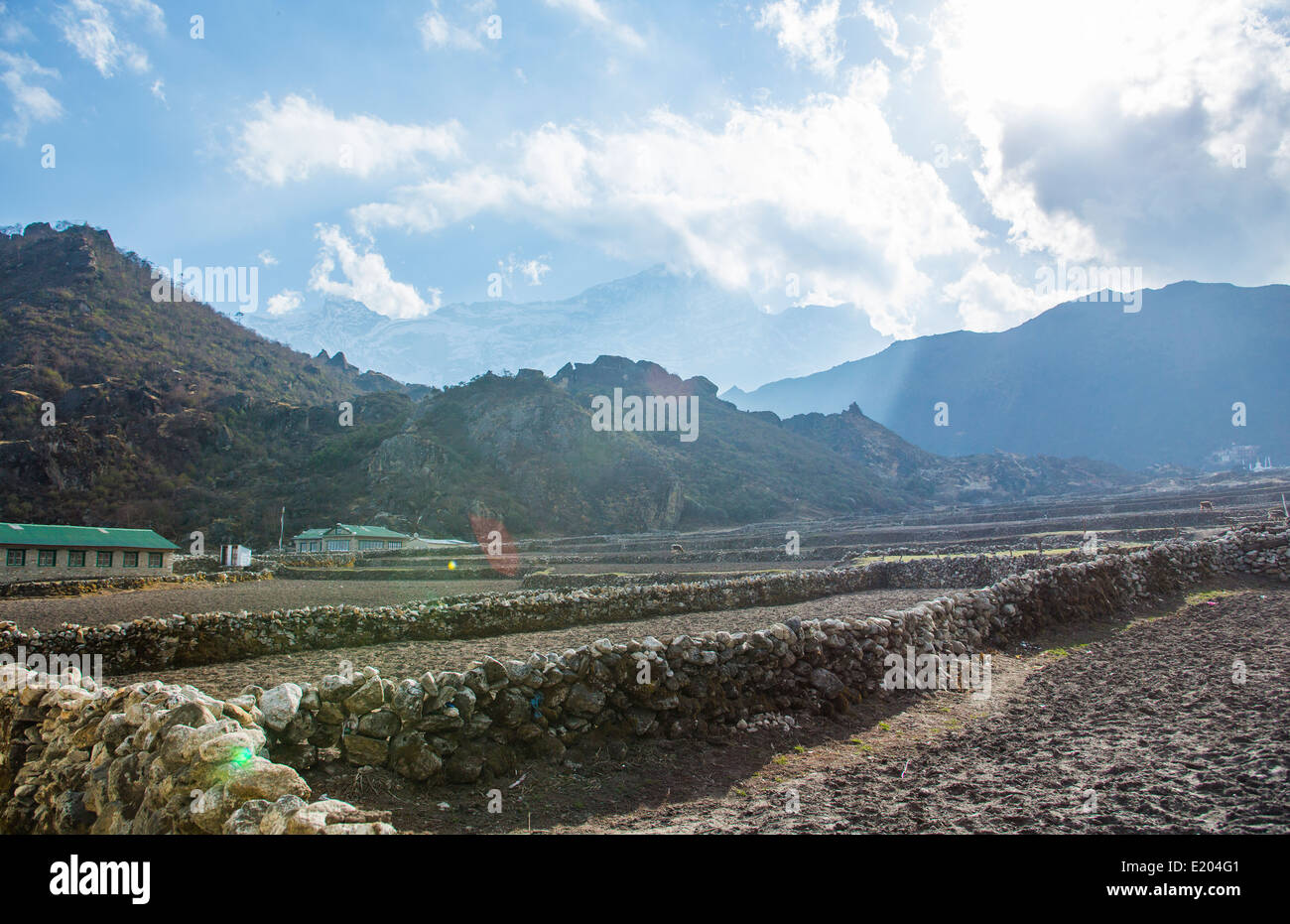 Nepal Farming fields divided by stone walls in the village of Khumjung, remote, Mt everest, Himalayas - Stock Image