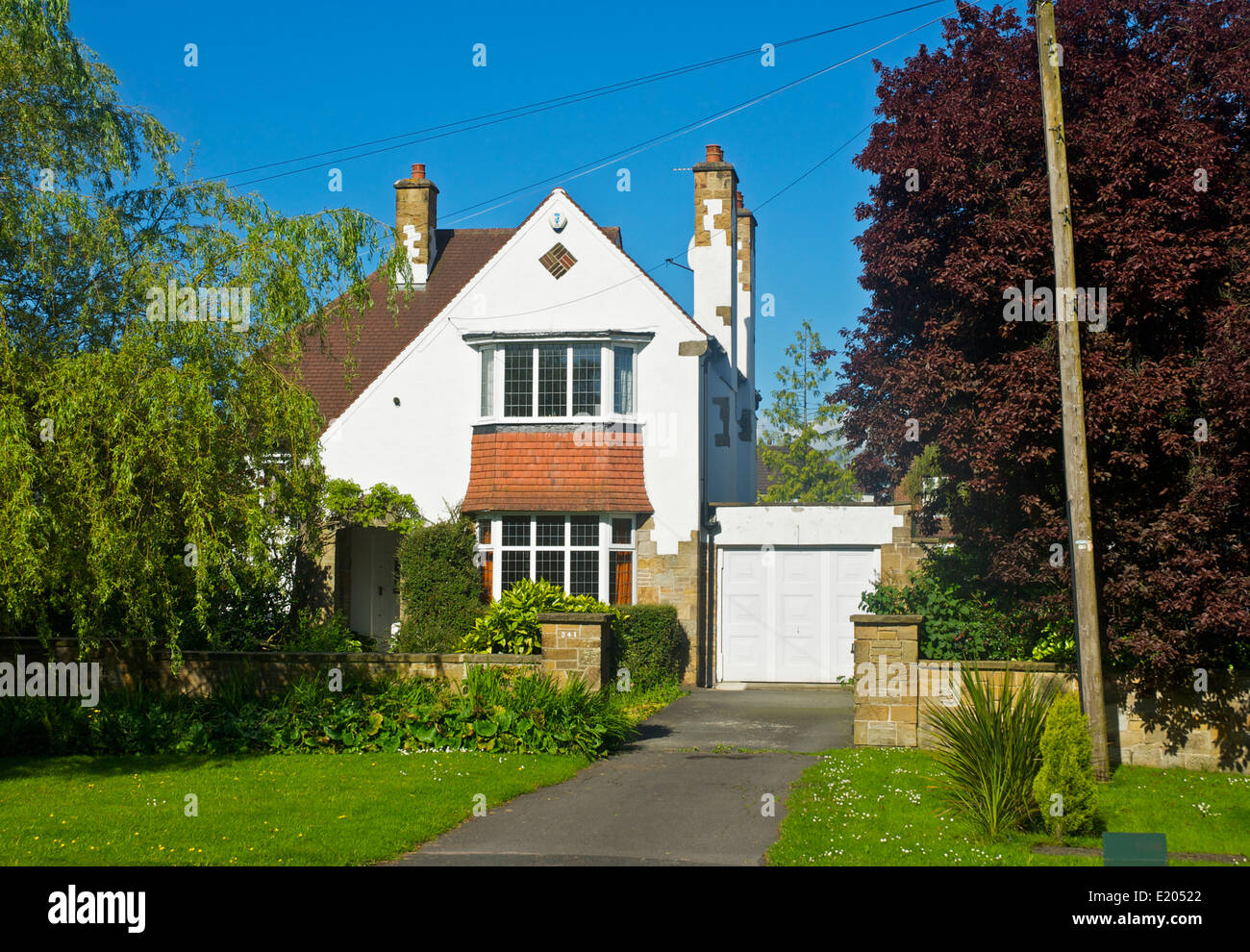 Detached house in Adel, near Leeds, West Yorkshire, England UK Stock Photo