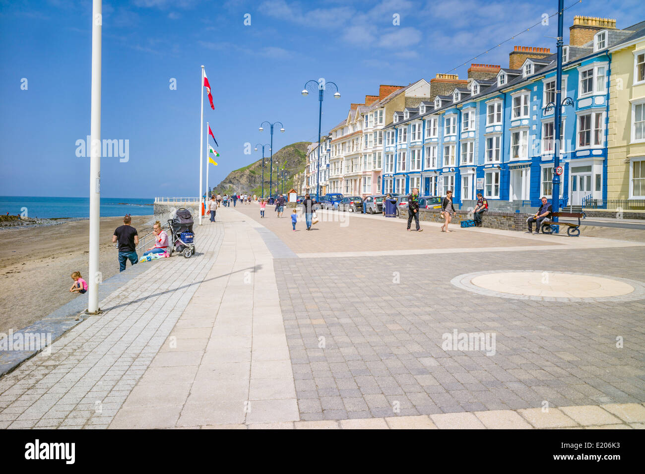 A view looking north along the newly refurbished promenade in Aberystwyth Ceredigion towards Constitution hill, - Stock Image