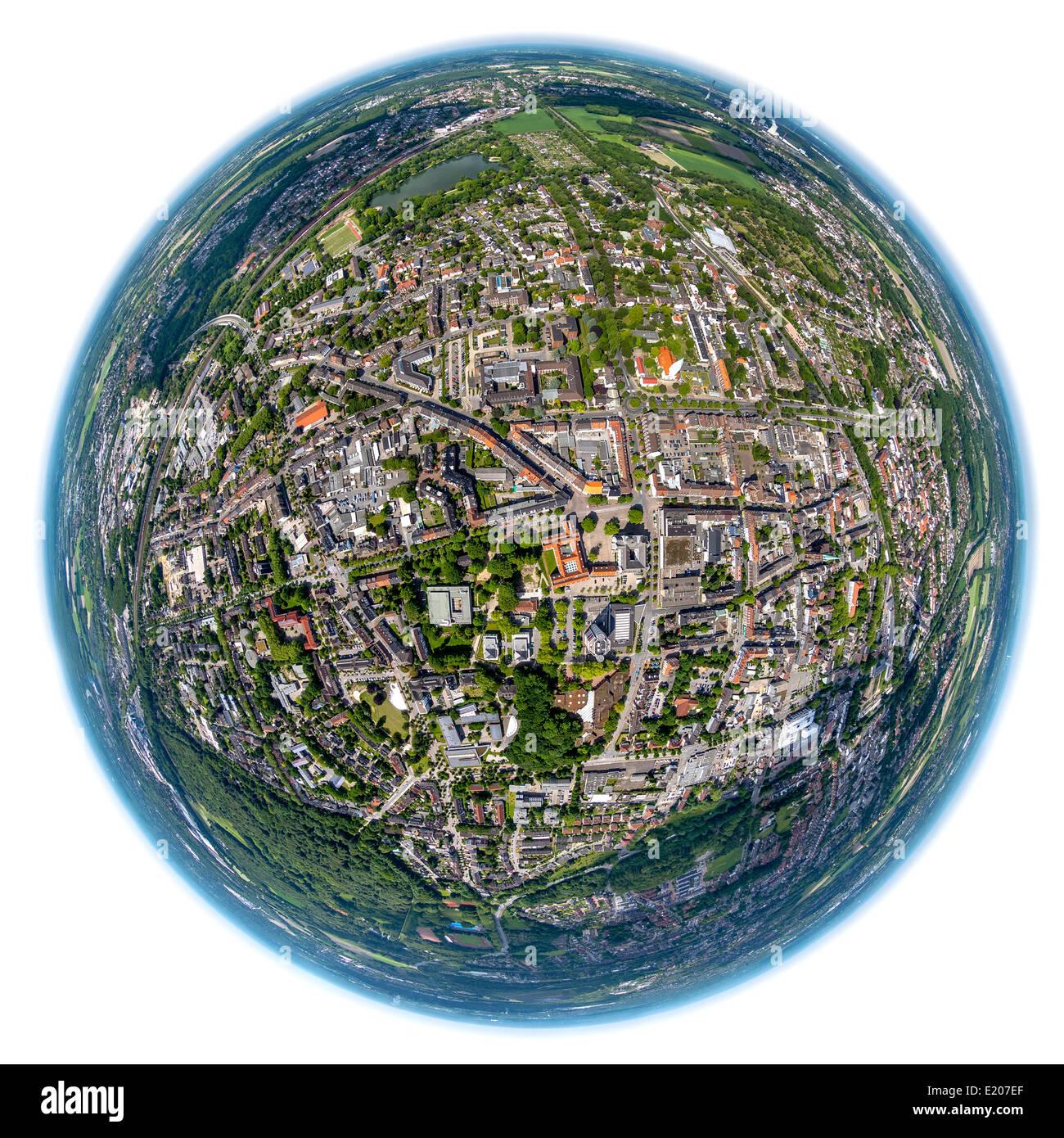 Aerial view, fisheye, Gladbeck, Ruhr district, North Rhine-Westphalia, Germany - Stock Image