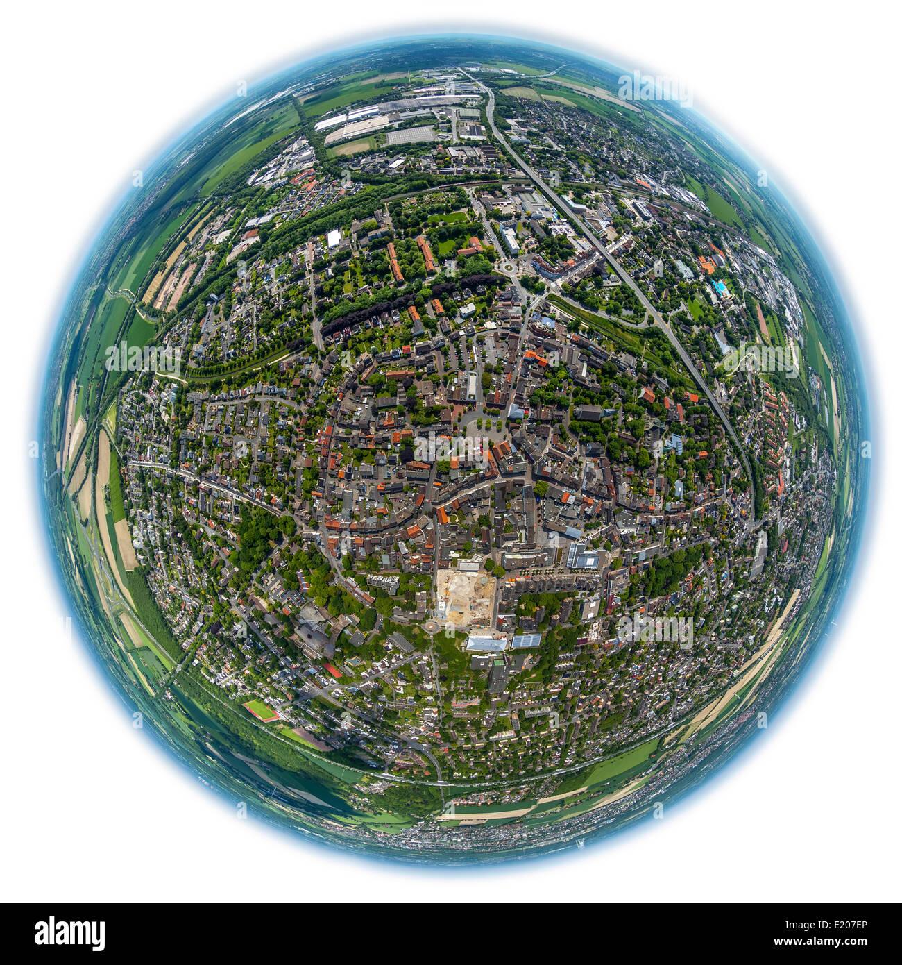 Aerial view, fisheye, Kamen, Ruhr district, North Rhine-Westphalia, Germany - Stock Image