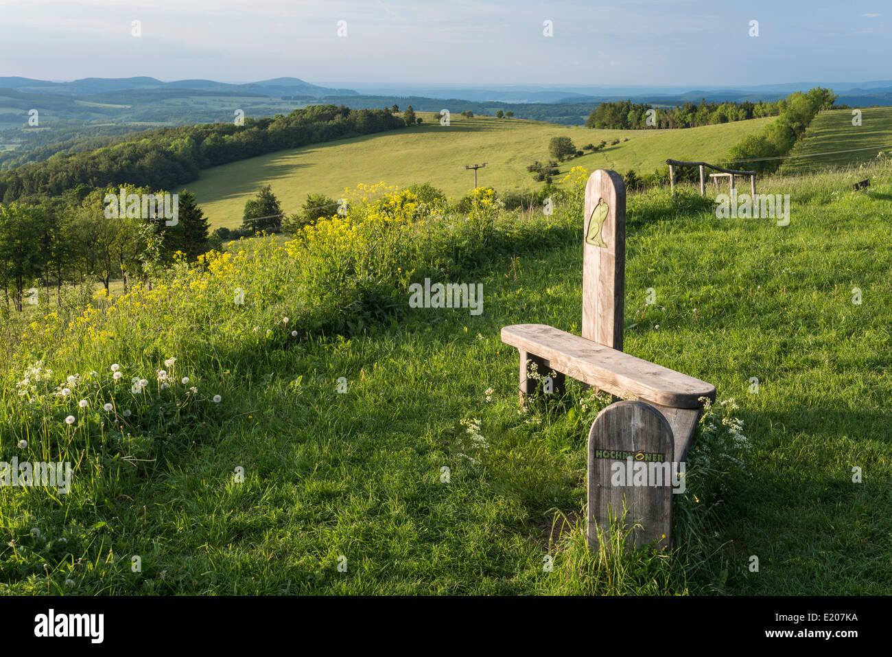 Viewpoint with wooden bench on the Ellenbogen, basalt hill, 814 m, Rhön Biosphere Reserve, Frankenheim - Rhön, - Stock Image