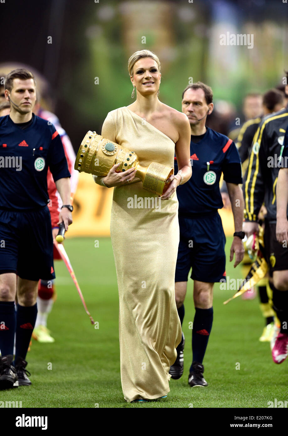 Maria Höfl-Riesch carries the DFB Cup into the stadium, opening ceremony, DFB Cup final, Olympiastadion, Berlin, - Stock Image