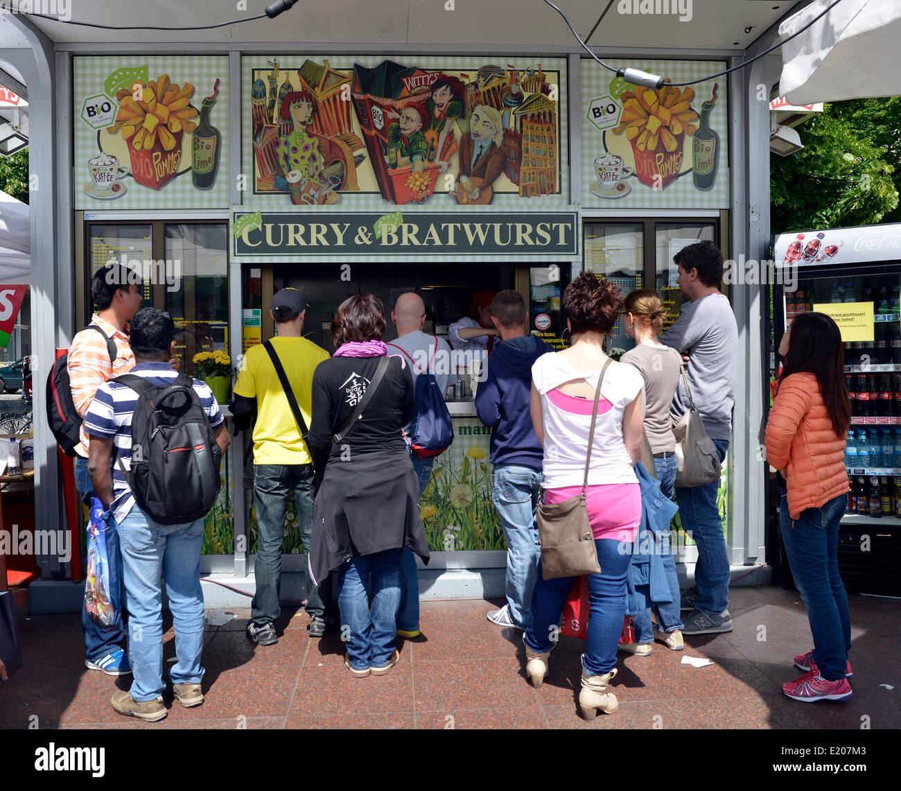 Organic Currywurst and Bratwurst food stall, Berlin, Germany Stock Photo