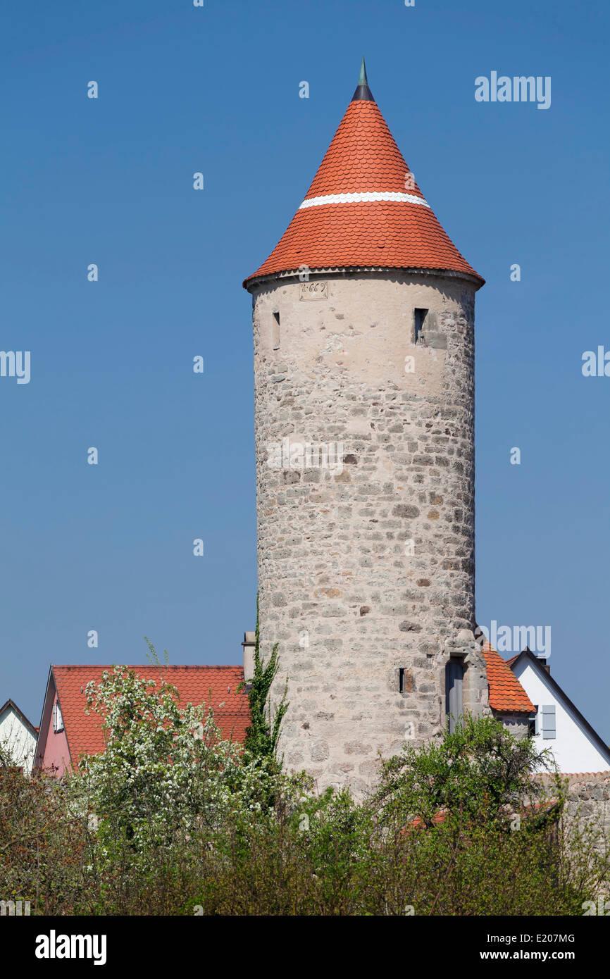 Krugsturm with city walls, Romantic Road, Dinkelsbühl, Middle Franconia, Franconia, Bavaria, Germany - Stock Image