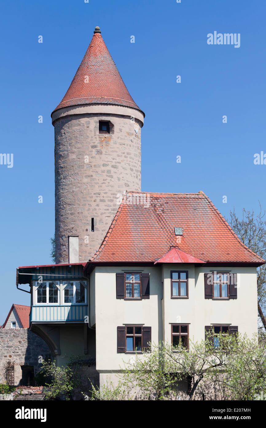 Salwartenturm tower, Romantic Road, Dinkelsbühl, Middle Franconia, Franconia, Bavaria, Germany - Stock Image