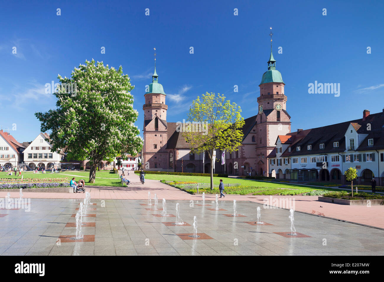 Protestant Town Church and a water garden on the marketplace, Freudenstadt, Black Forest, Baden-Württemberg, Germany Stock Photo
