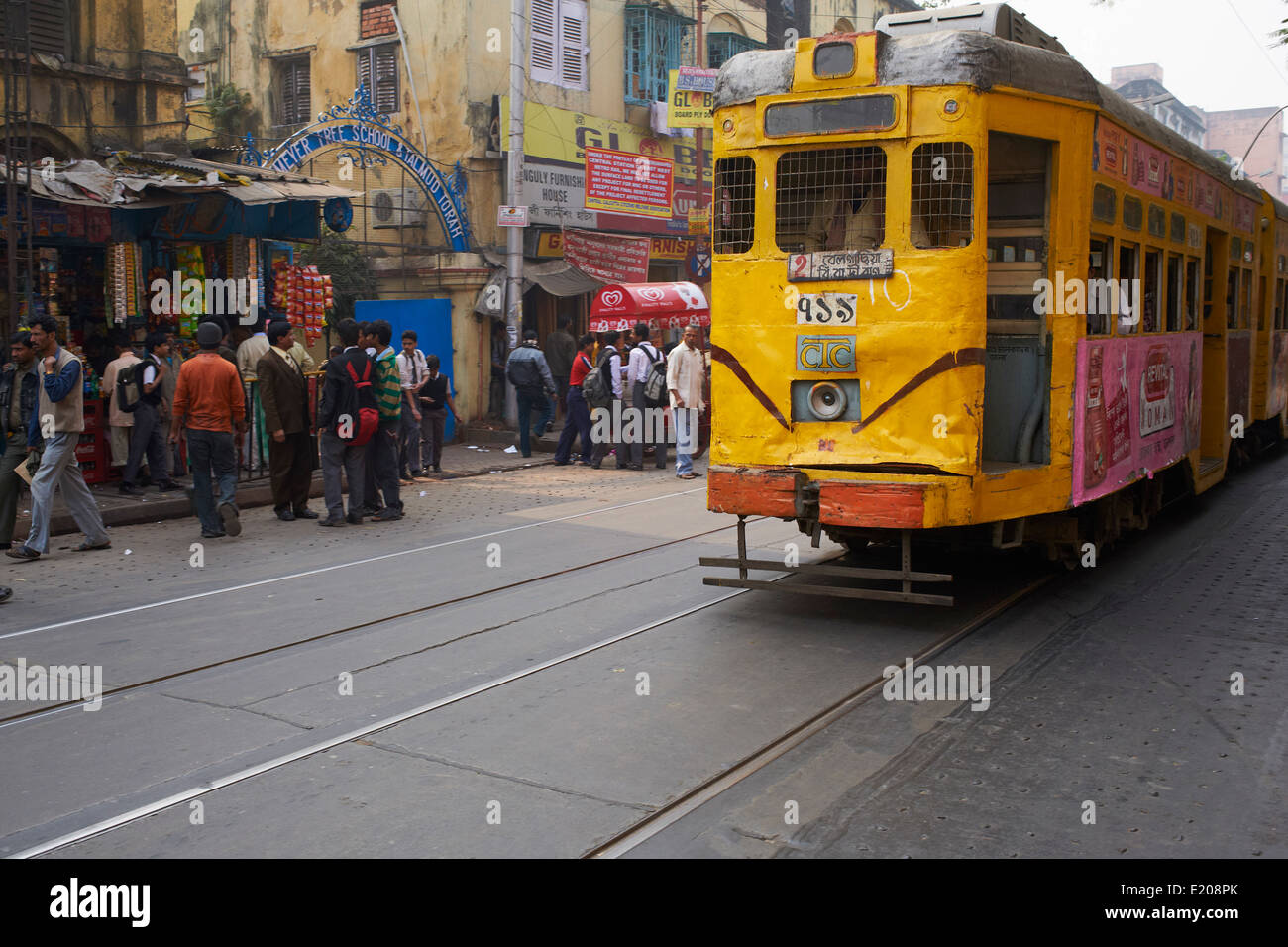 India, West Bengal, Kolkata, Calcutta, old tramway Stock Photo