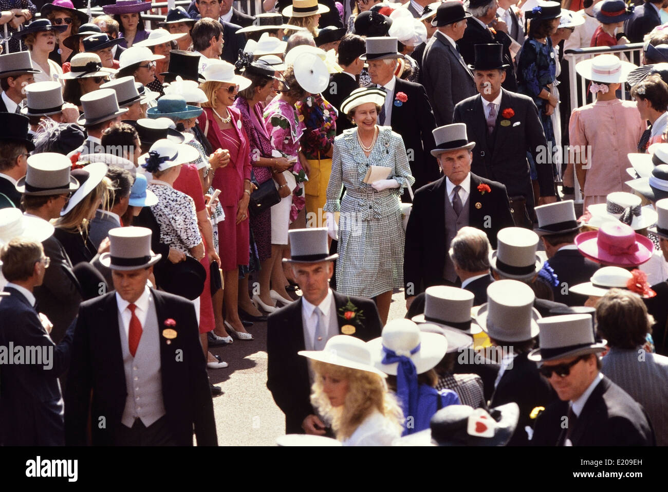A smiling Queen Elizabeth II walking in the Royal enclosure during race week at Ascot Races circa 1989 - Stock Image