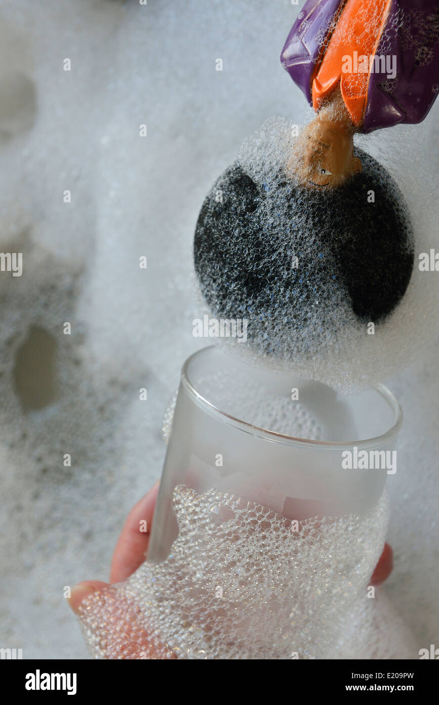 Novelty King of Disco washing up sponge dish plate glass cloth cleaner. - Stock Image