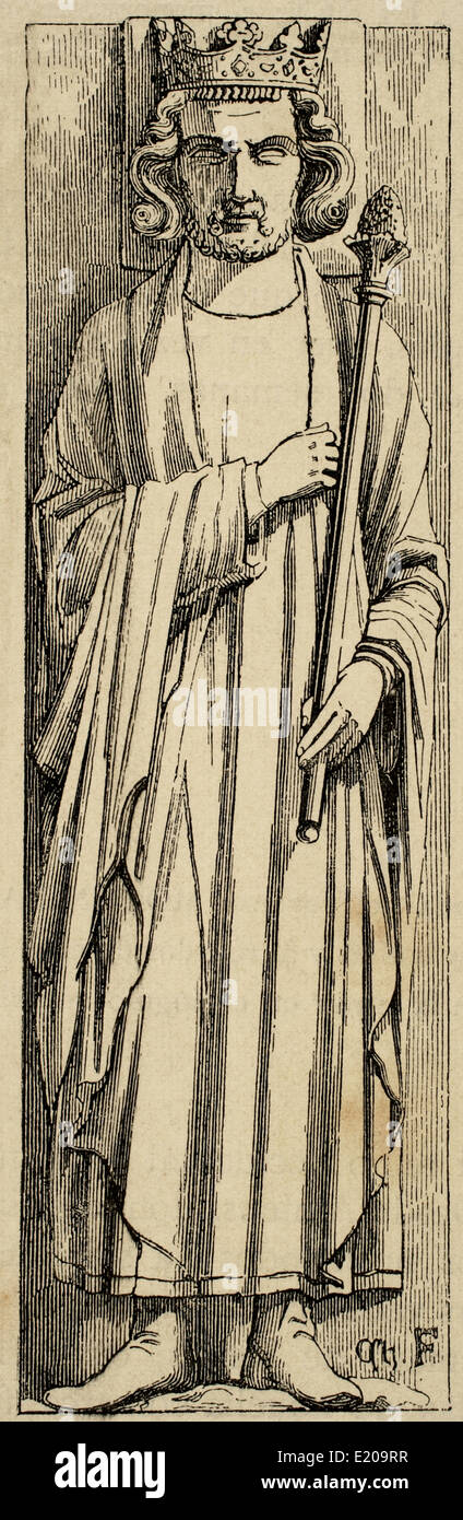 Louis III of France (863/65-882). King of West Francia (France). Engraving. Historia Universal, 1881. - Stock Image