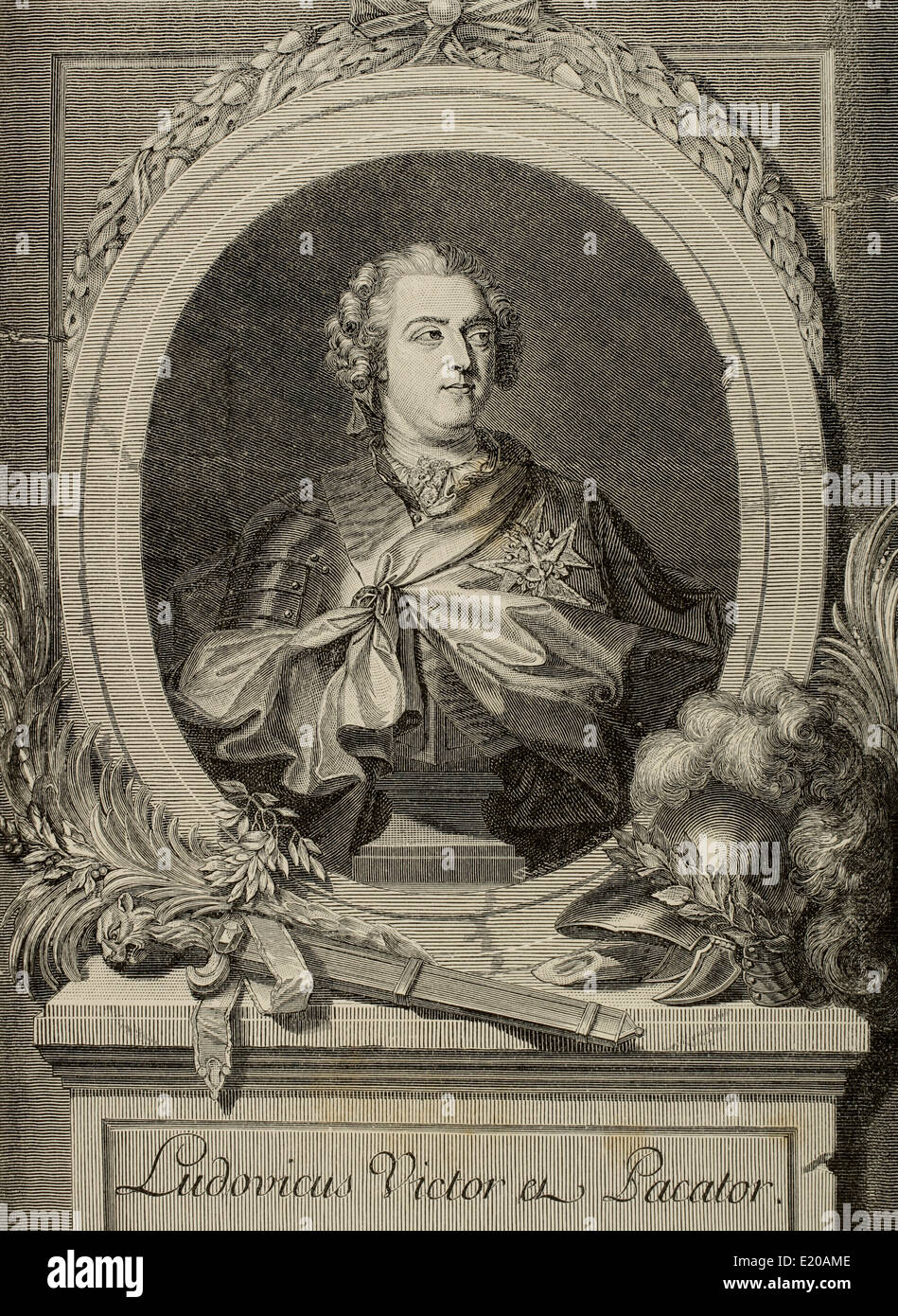 Louis XV of France (1710-1774). Louis the Beloved. King of France and Navarre. Engraving by Triebmann. Historia - Stock Image