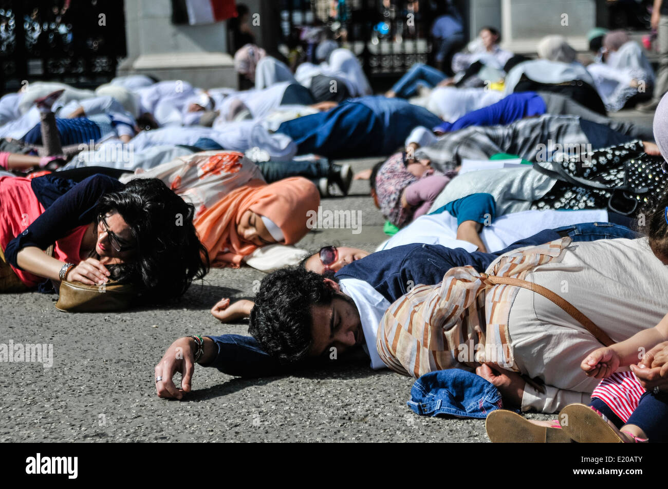 Egyptians stage protest against human rights abuses in Egypt including death, imprisonment and state sponsored violence - Stock Image