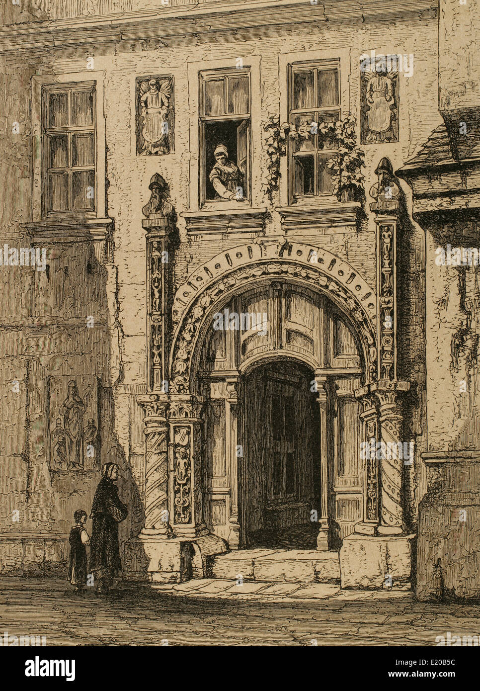 Martin Luther, (1483-1546). German reformer. Luther house in Eisenach. Engraving. - Stock Image