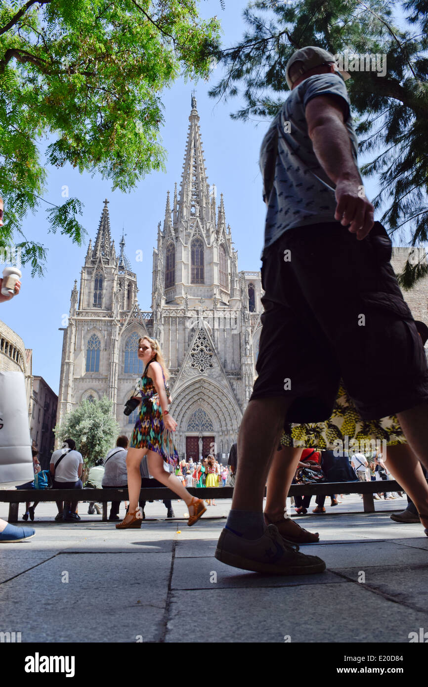 Cathedral of the Holy Cross and Saint Eulalia, also known Barcelona Cathedral. Barcelona, Catalonia, Spain. - Stock Image