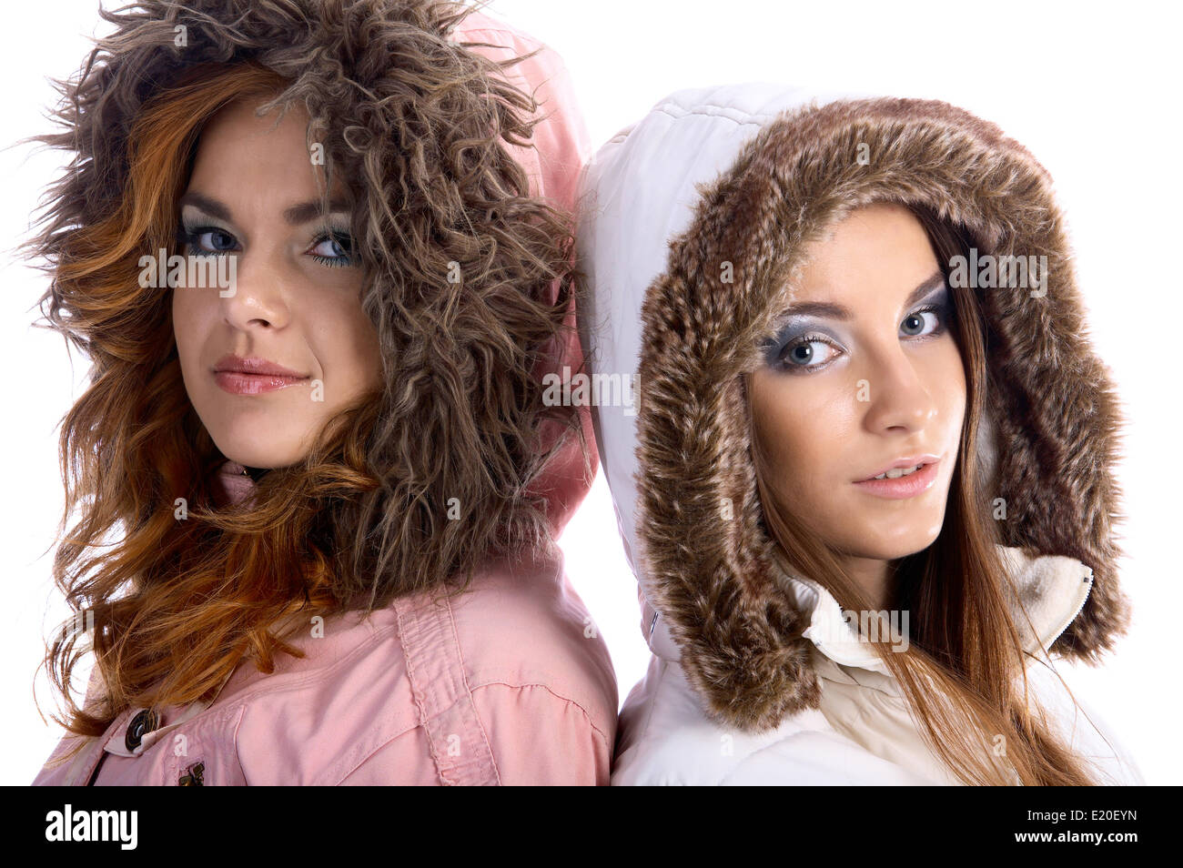 models in warm clothes - Stock Image