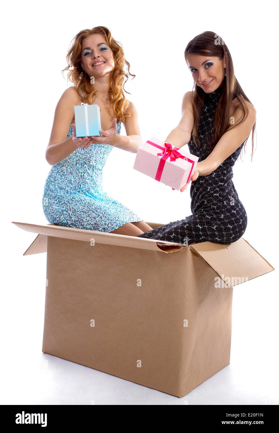 models with presents - Stock Image