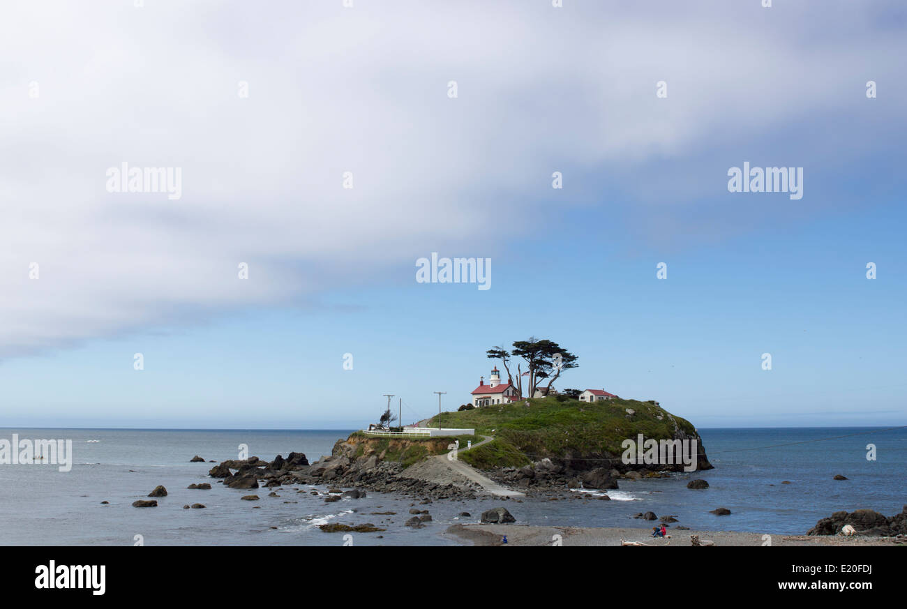 Historic Battery Point lighthouse situated near Crescent City, northern California, on the Pacific Ocean coast. Stock Photo