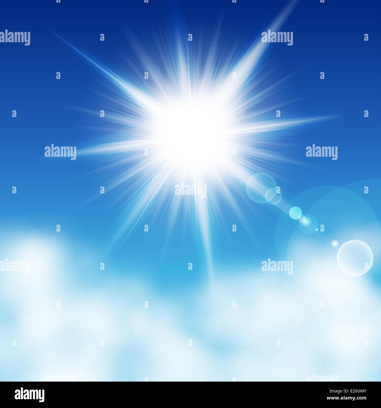Sun on  a blu sky - Stock Image