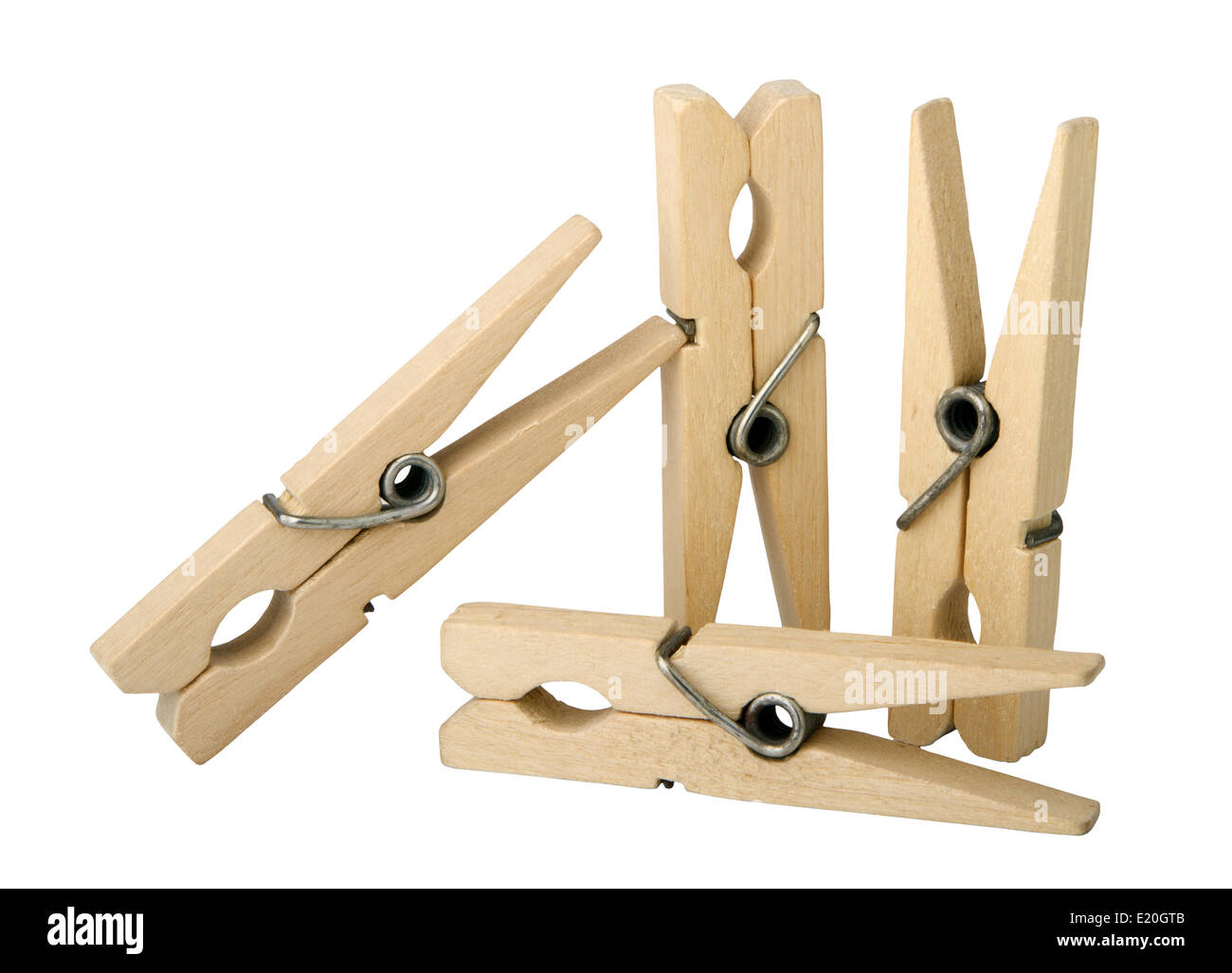 wooden clothes pins - Stock Image