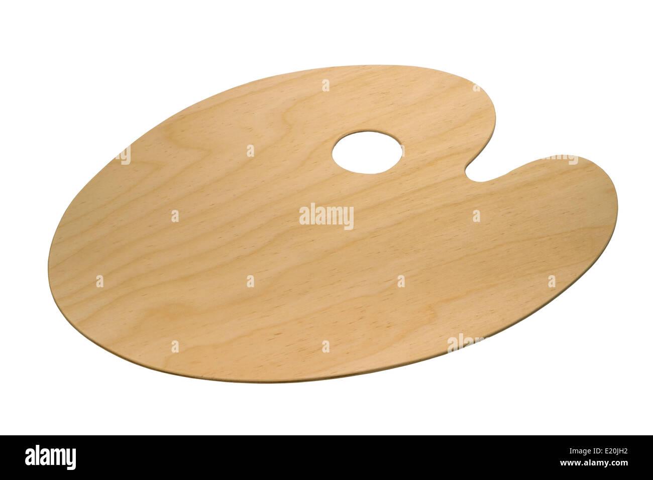 wooden art palette - Stock Image