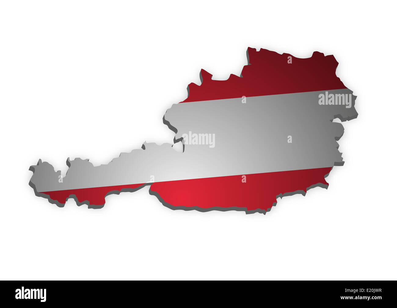 Oesterreich_3D_farbig - Stock Image