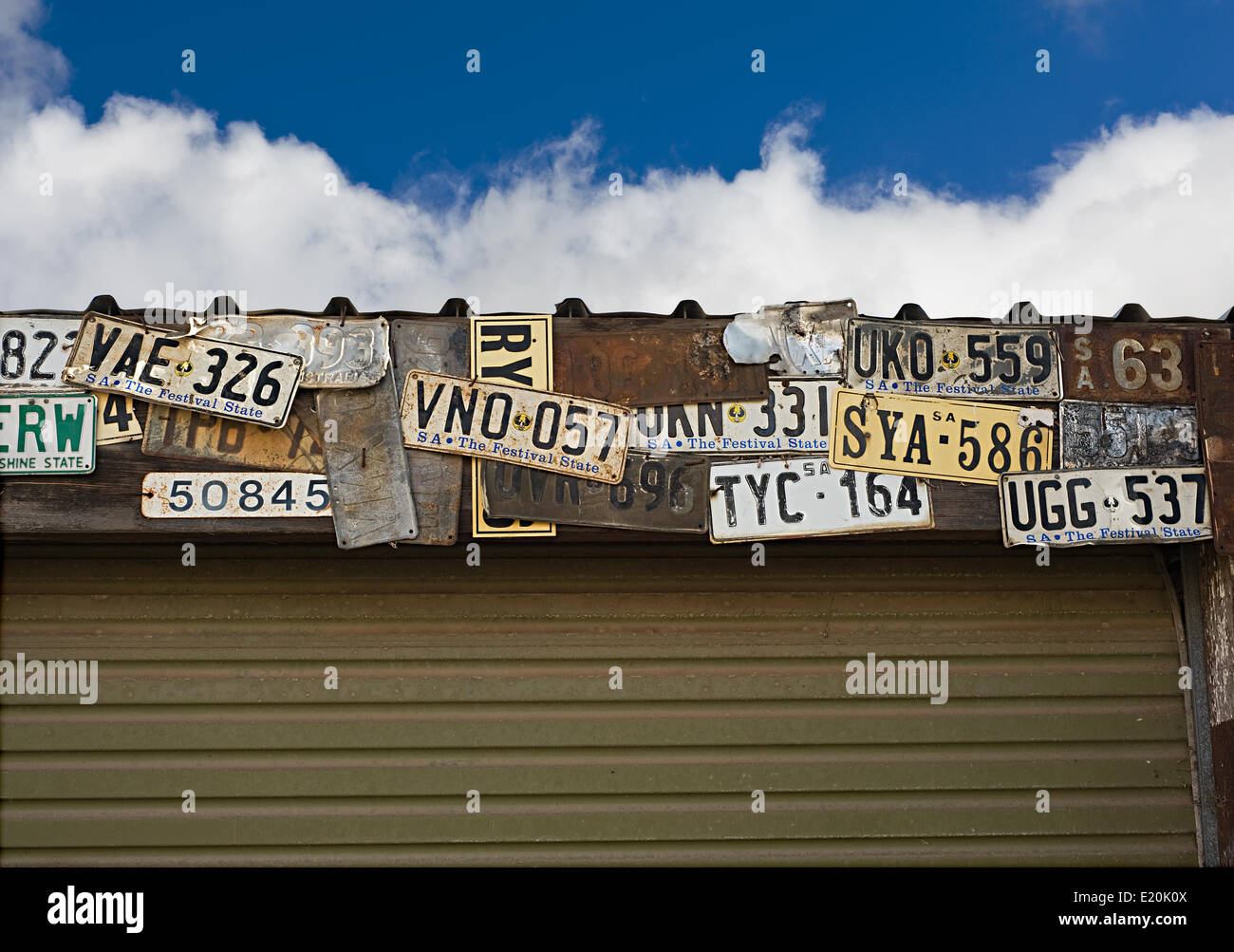 image of old Australian number plates - Stock Image