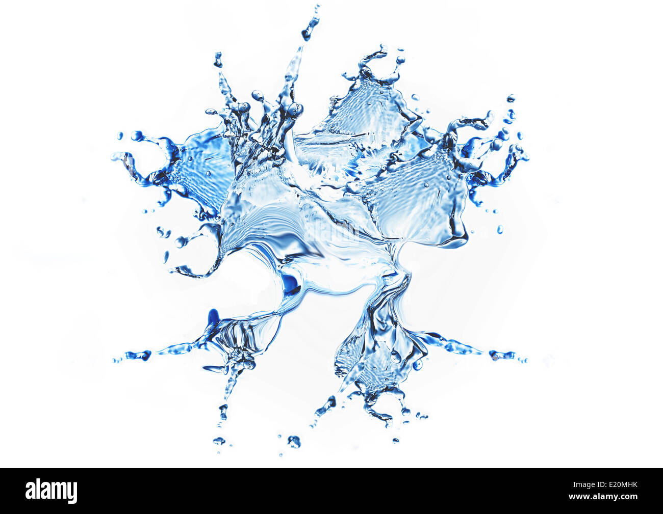 Blue water and water splash - Stock Image