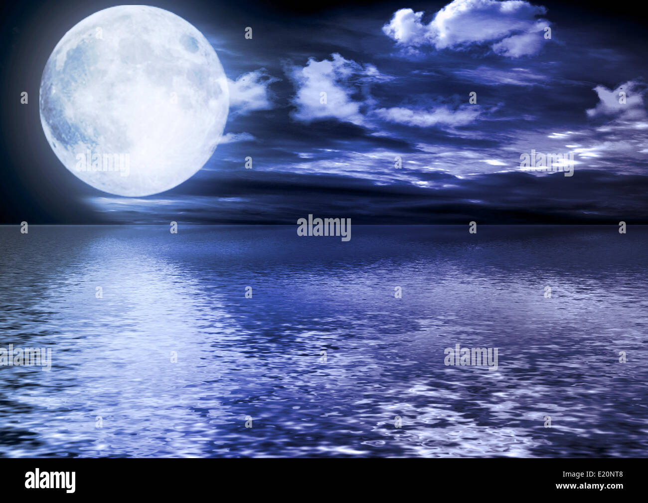 Full moon reflected in water Stock Photo