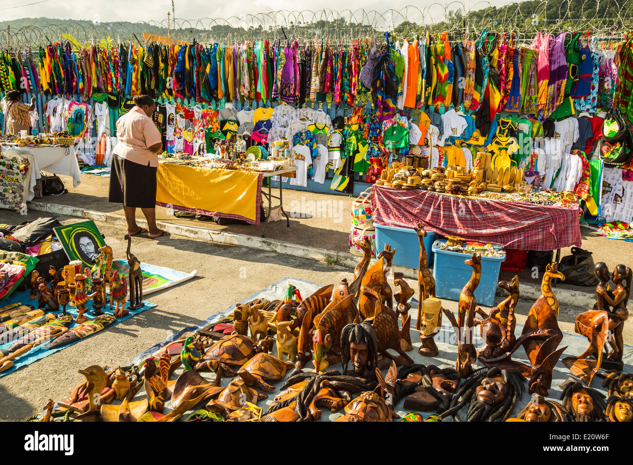Local souvenirs for sale at the port of Ocho Rios, Jamaica, Caribbean. - Stock Image