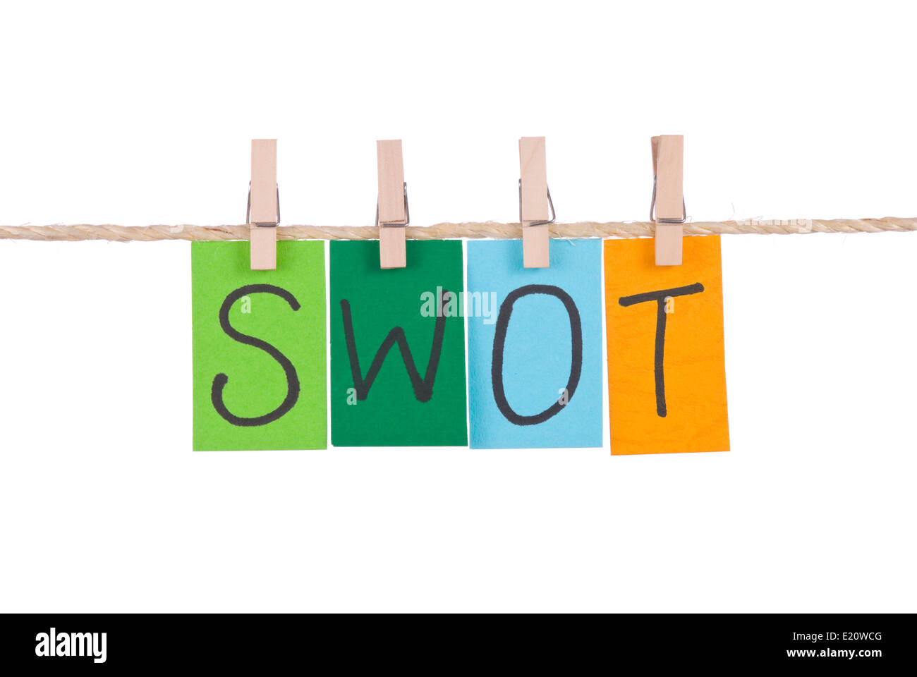 SWOT, Colorful words hang on rope - Stock Image