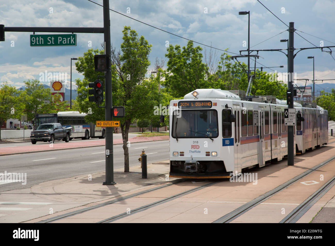 Denver, Colorado - Rapid transit trains at a station near downtown Denver. - Stock Image