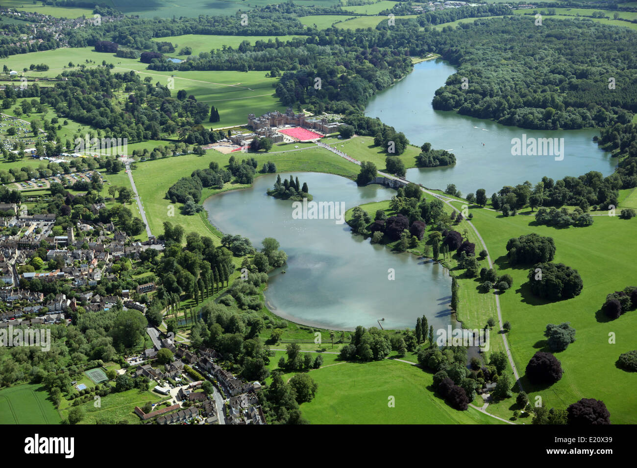 aerial view of Blenheim Palace in Oxfordshire UK during the 2014 Leukaemia & Lymphoma Research Triathlon - Stock Image