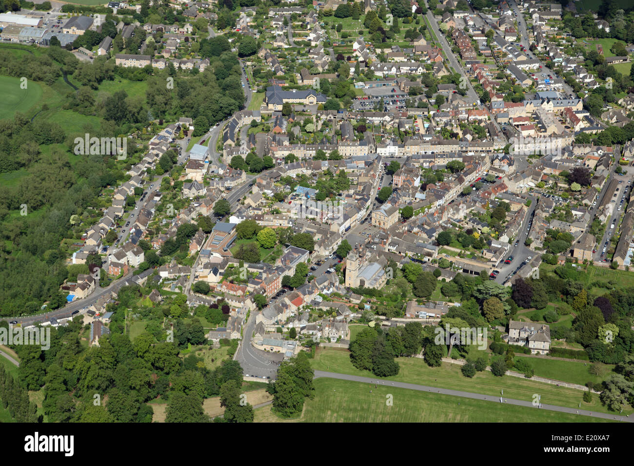 aerial view of the village of Woodstock, near Blenheim, in Oxfordshire, UK - Stock Image