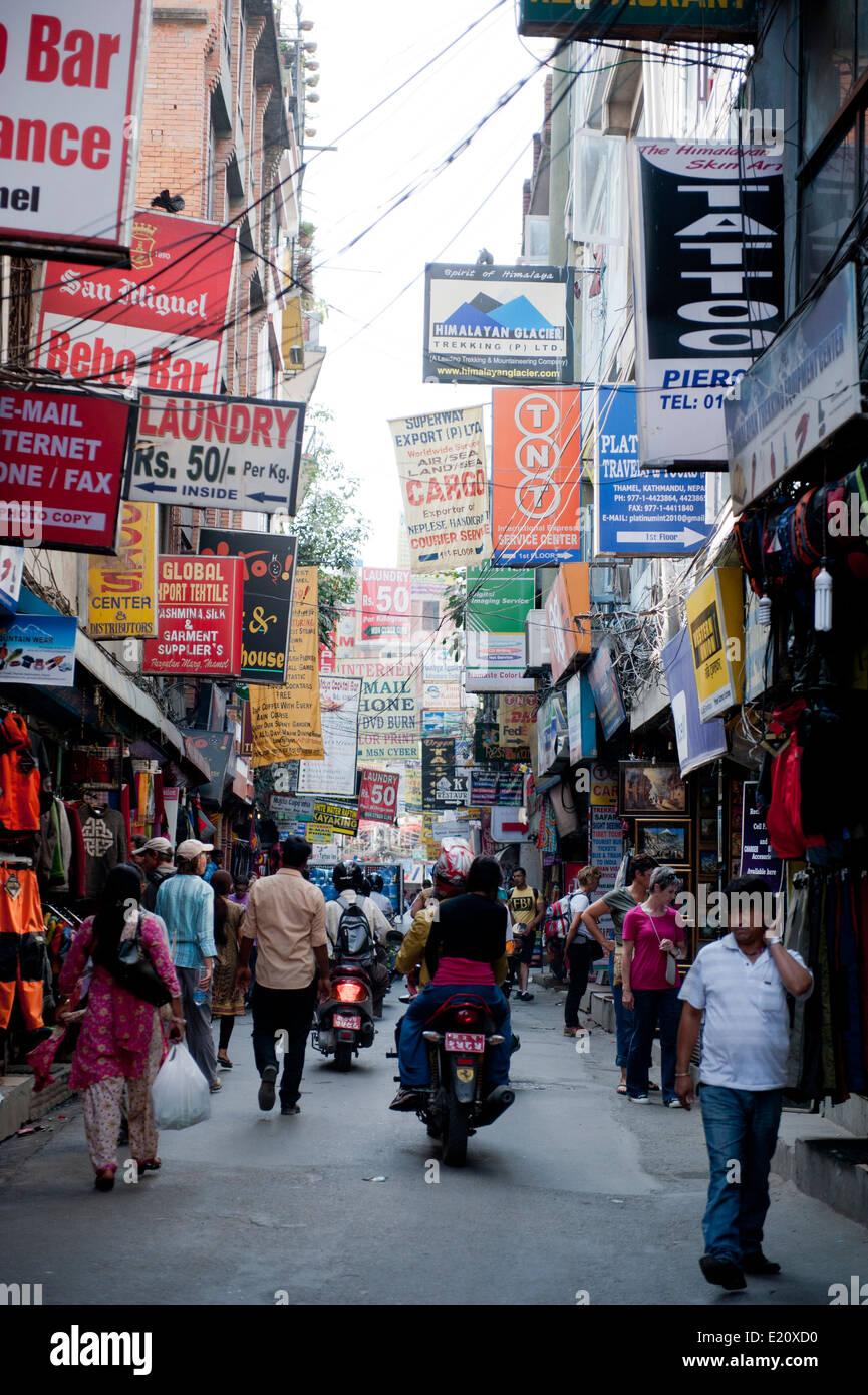 Busy street scene in Kathmandu Nepal - Stock Image