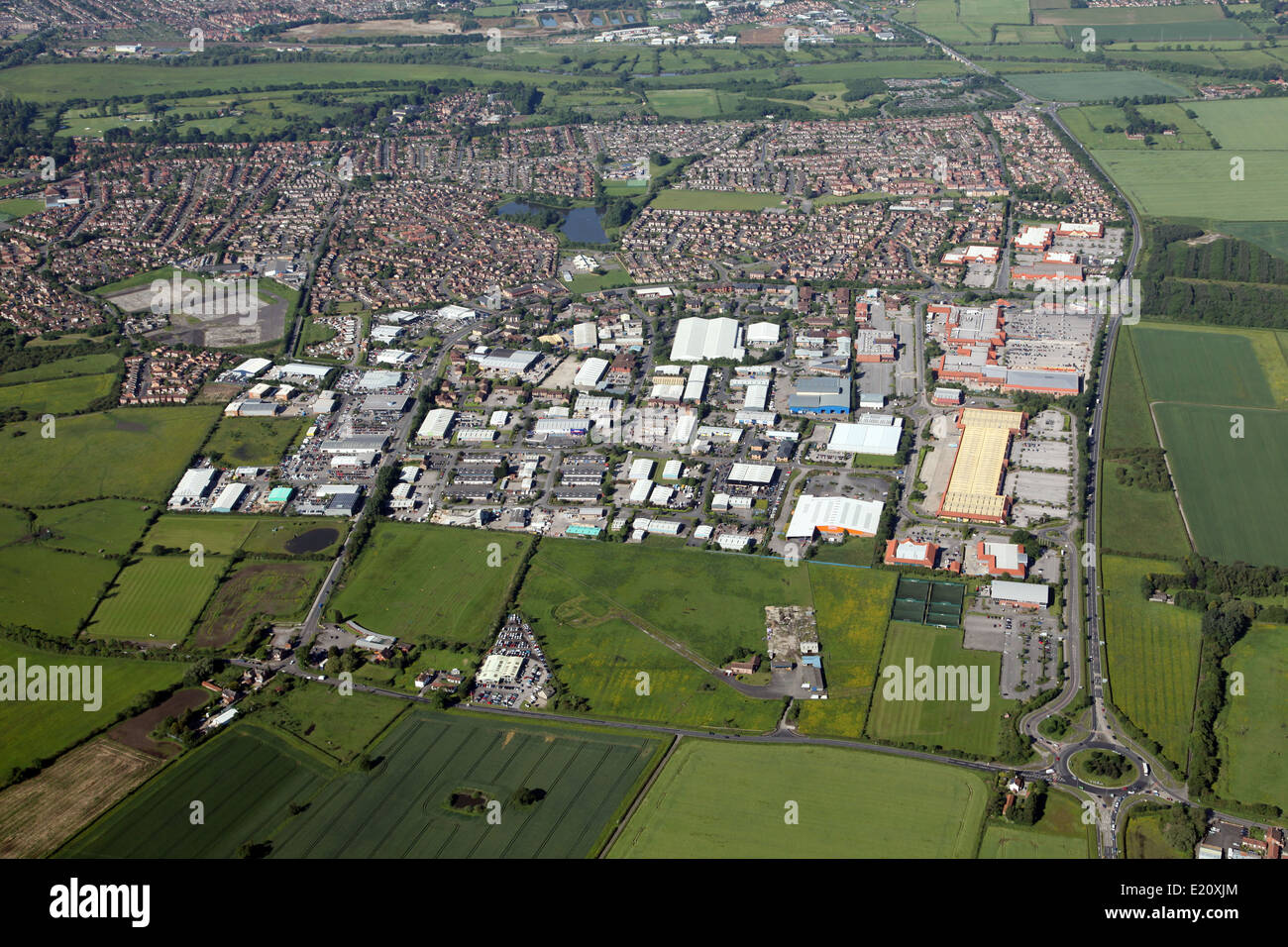 aerial view of the Clifton Moor area, north of York, UK - Stock Image