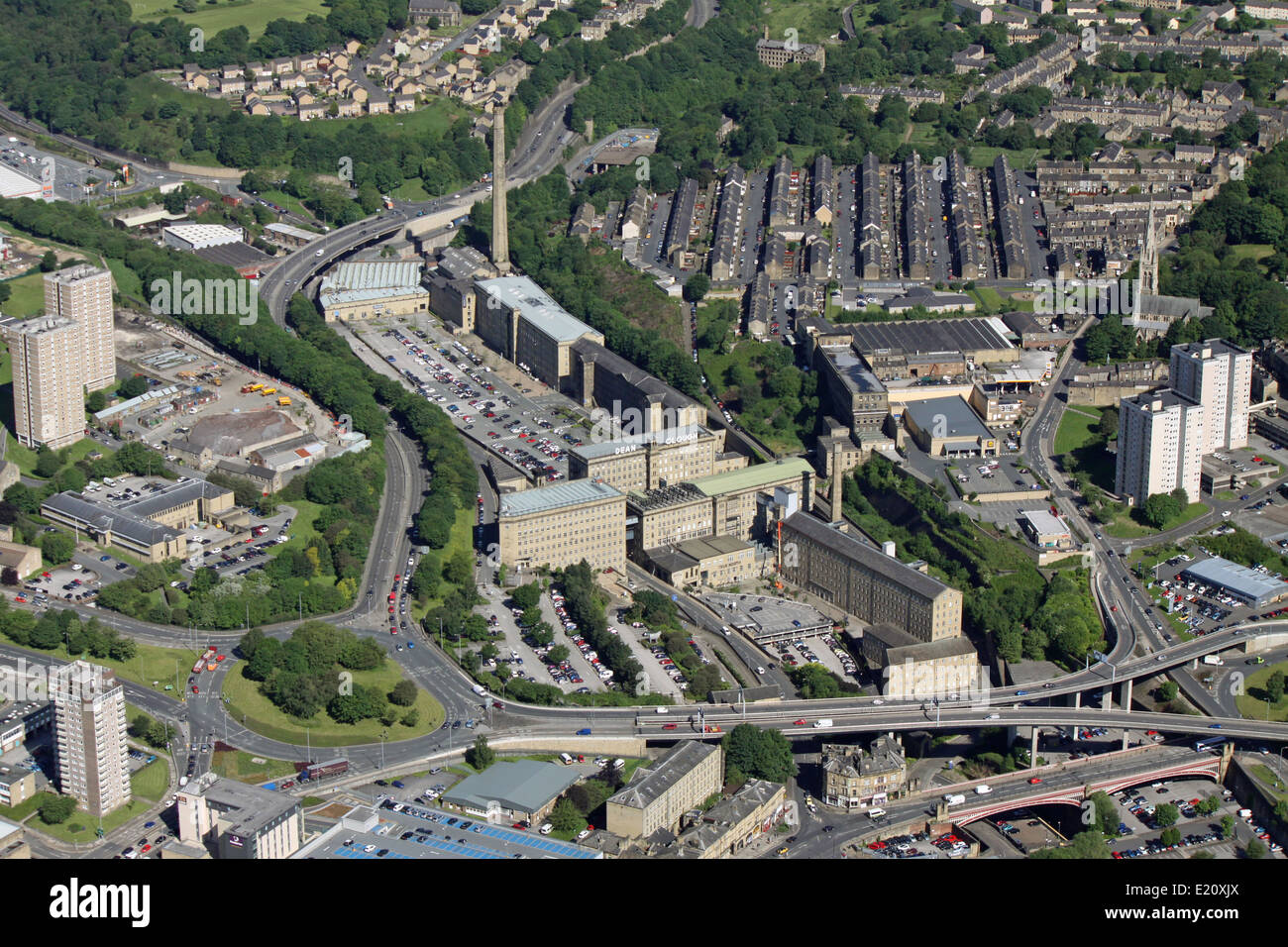 aerial view of Dean Clough Mills in Halifax, West Yorkshire, UK Stock Photo