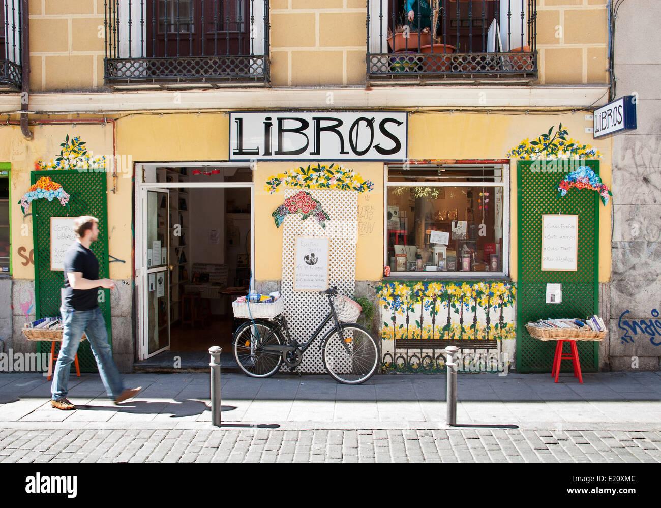 Secondhand book shop, Malasaña district Stock Photo