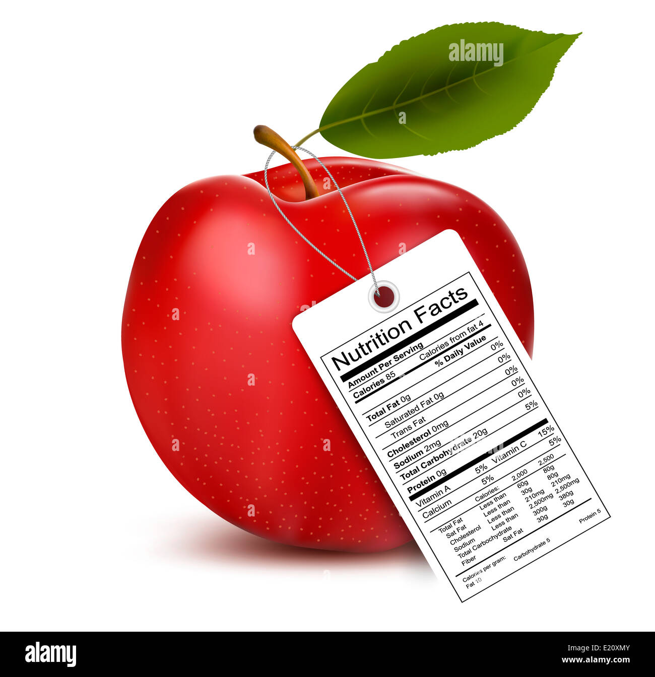 An Apple With A Nutrition Facts Label Vector Stock Photo Alamy