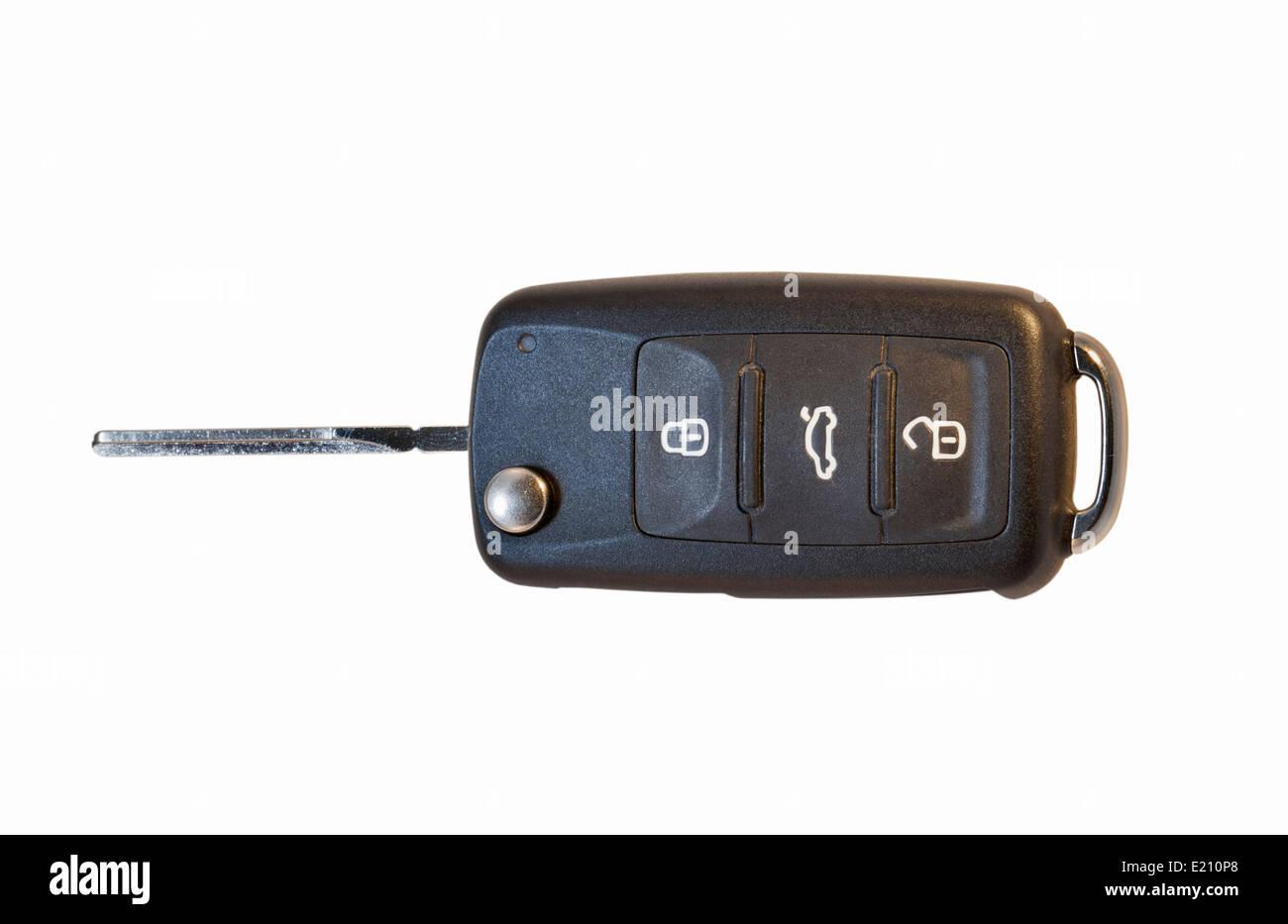 Modern Car Key isolated against White Background - Stock Image