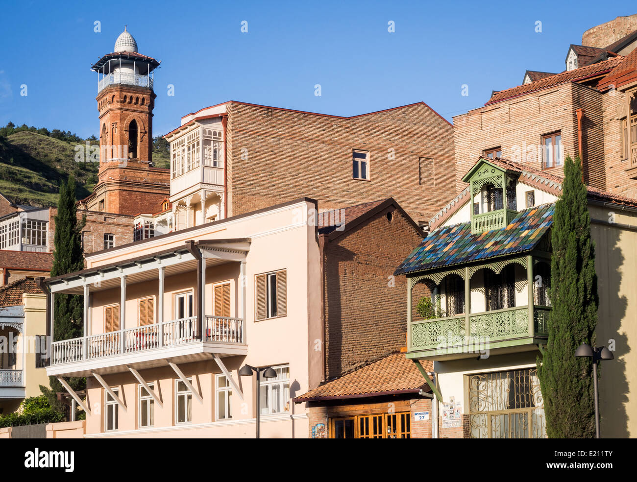 Architecture of the old town in Tbilisi, Georgia, close to the sulphur baths. Stock Photo