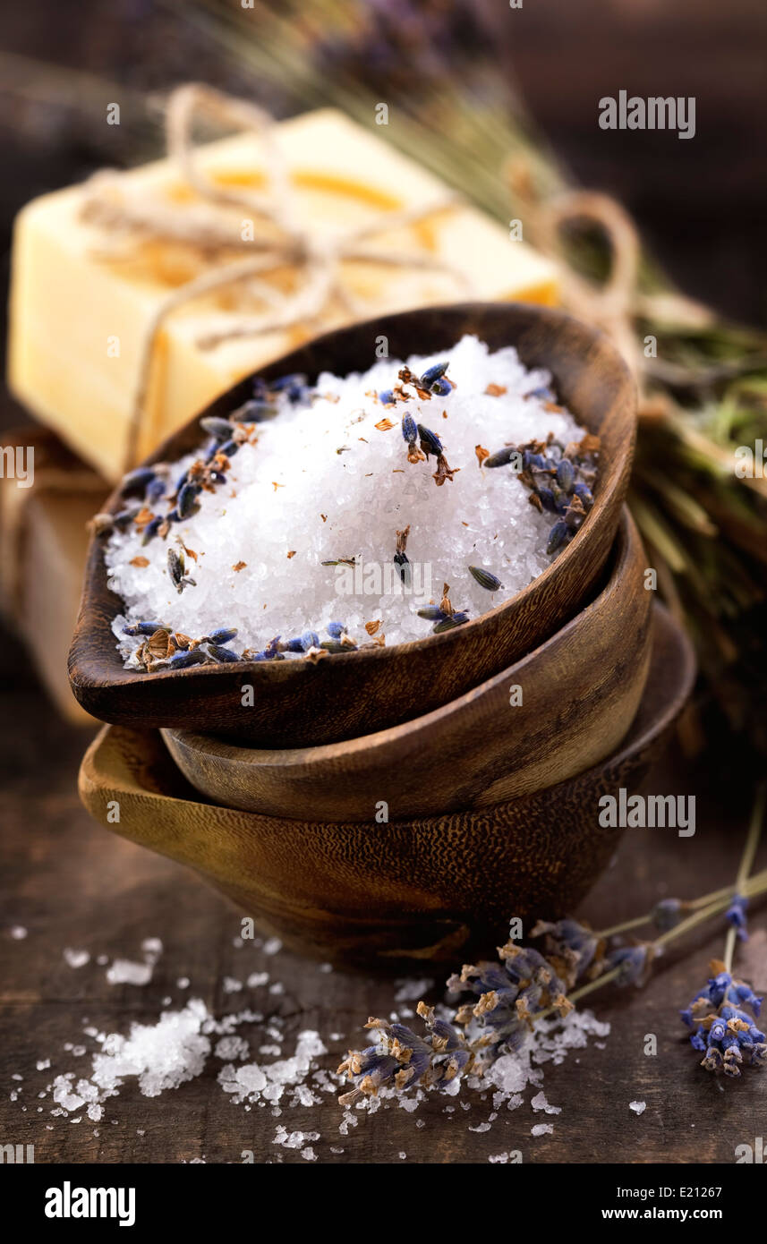 Spa salt, lavender and soaps (spa and body care background) - Stock Image