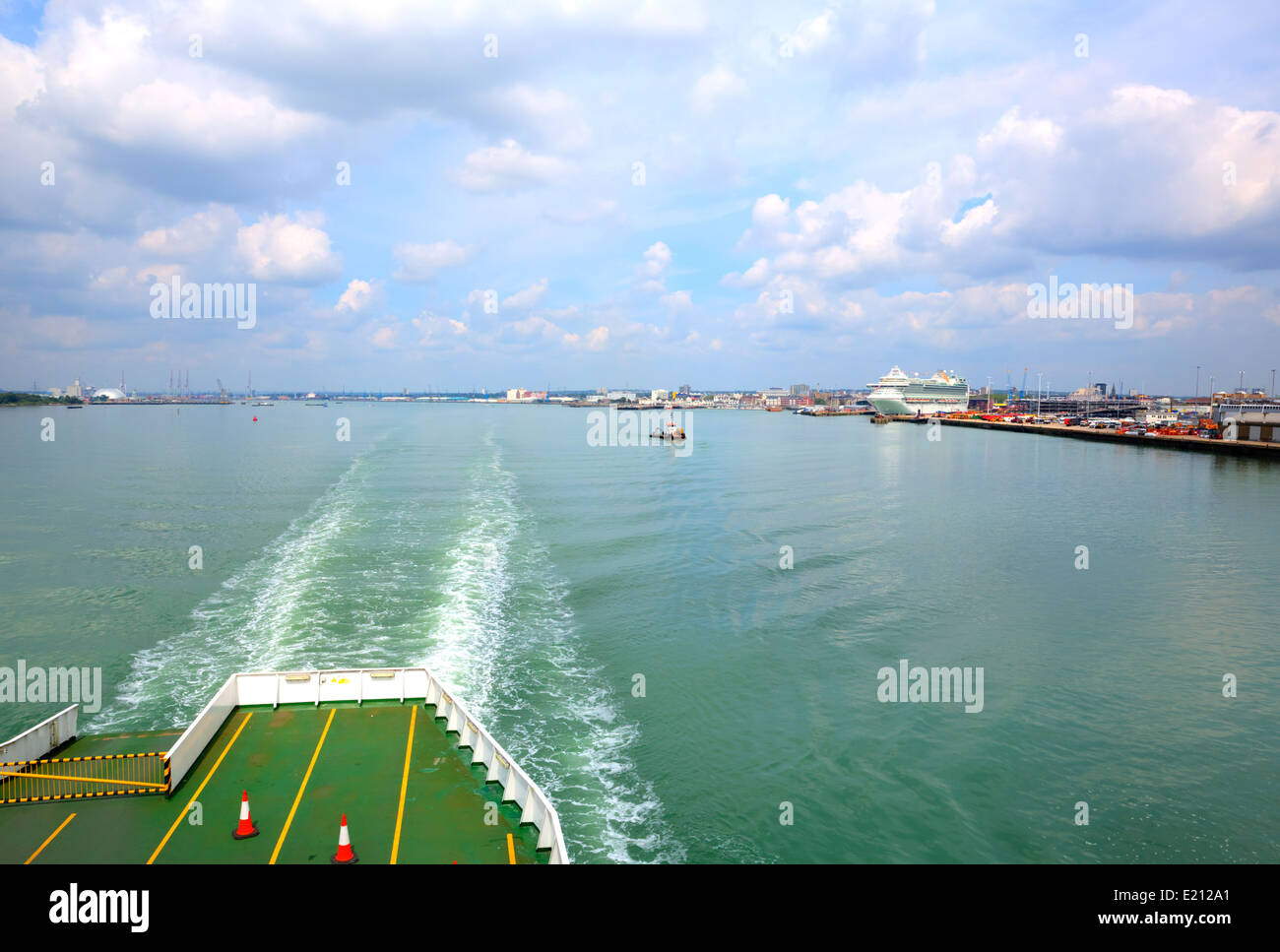 Leaving Southampton port on the ferry with view of docks - Stock Image