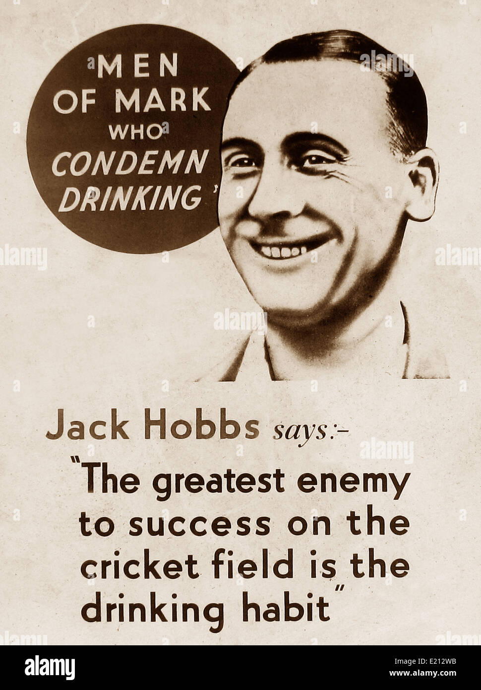 Temperance message Jack Hobbs early 1900s - Stock Image