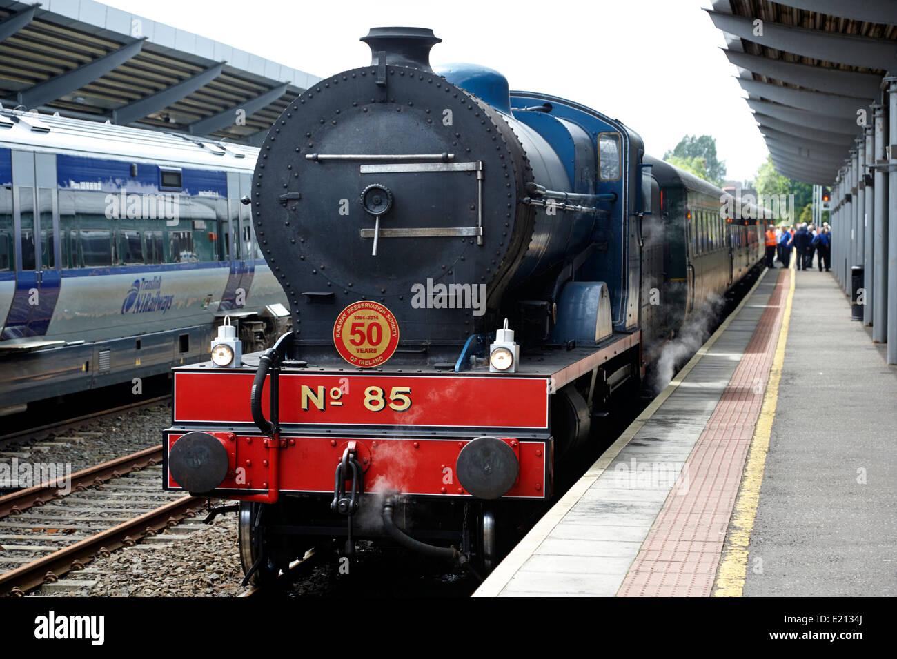 steam locomotive train at bangor station northern ireland - Stock Image