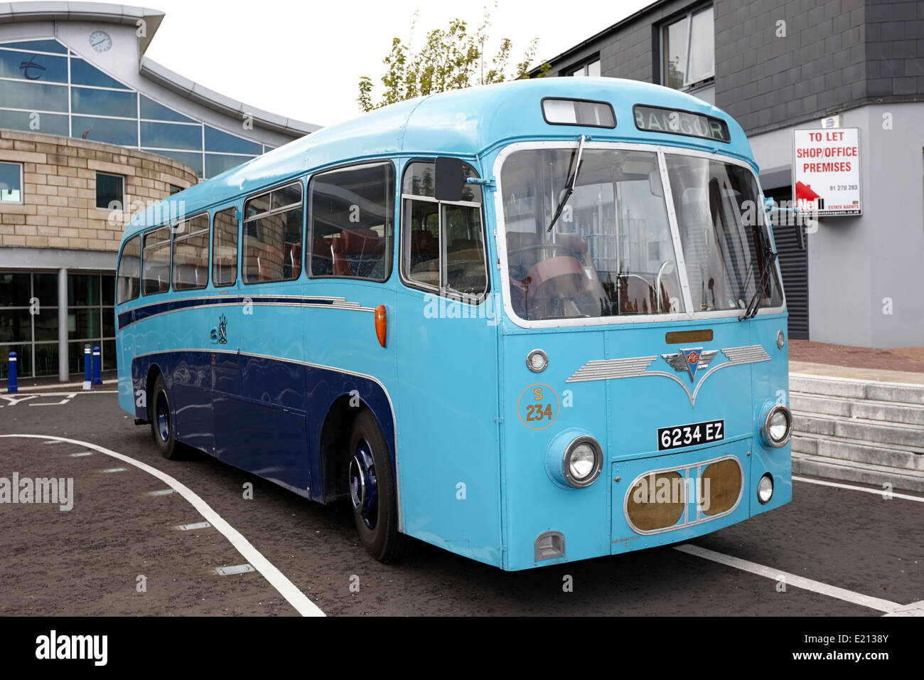 ulster transport authority blue livery aec reliance bus at bangor northern ireland - Stock Image